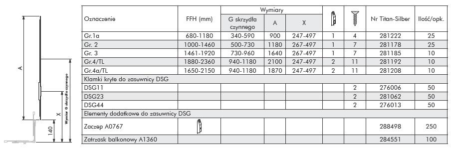 Siegenia zasuwnica DSG3