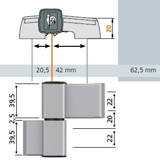 Zawias Dr.Hahn 60AT do aluminium A701